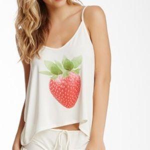 WILDFOX Swim strawberry crop tank sz: XS